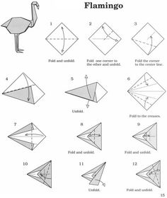 Origami Flamant Rose Young Planneur