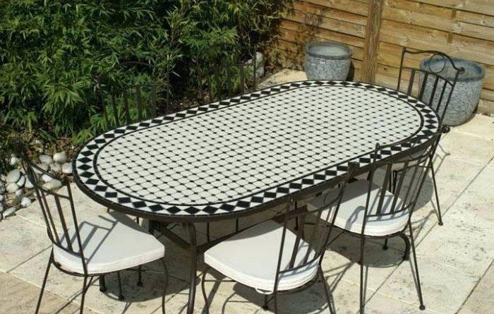 Table fer forgé mosaique occasion - young planneur