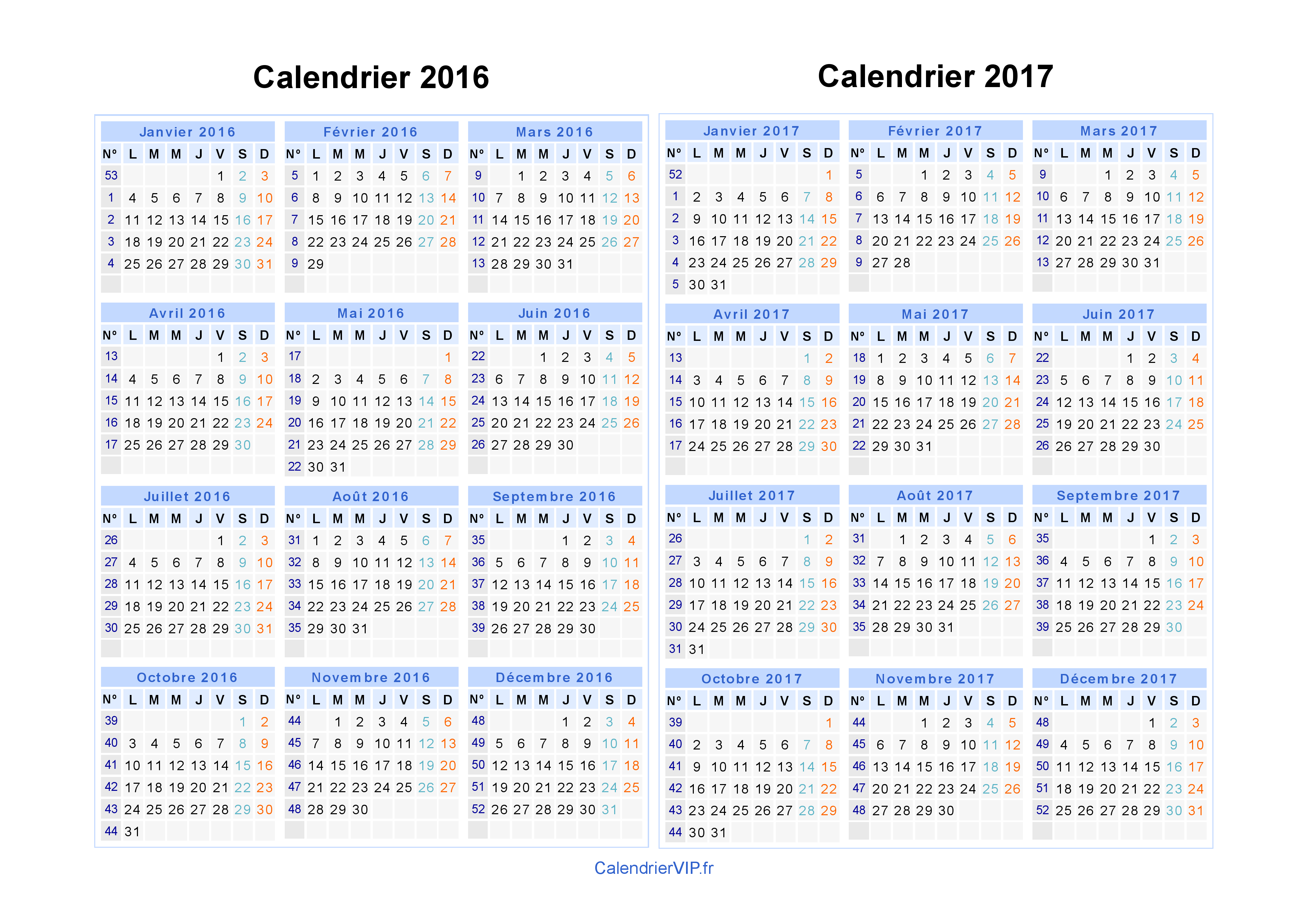 Calendrier annuel 2016 gratuit à imprimer