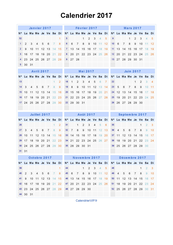 Calendrier 2017 semaine pdf
