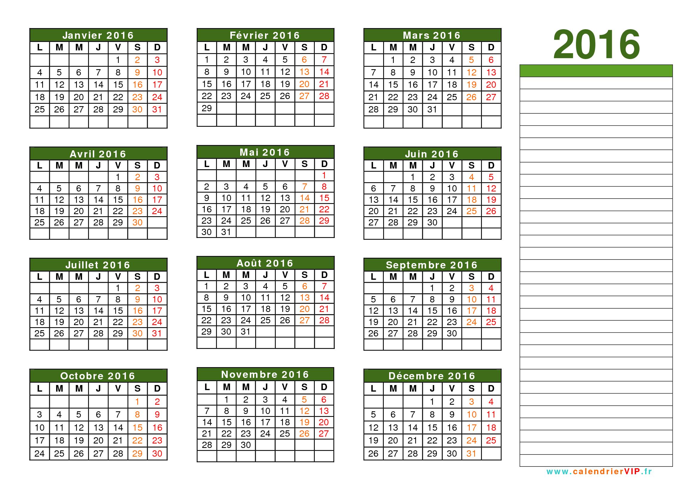 Télécharger calendrier gratuit 2016
