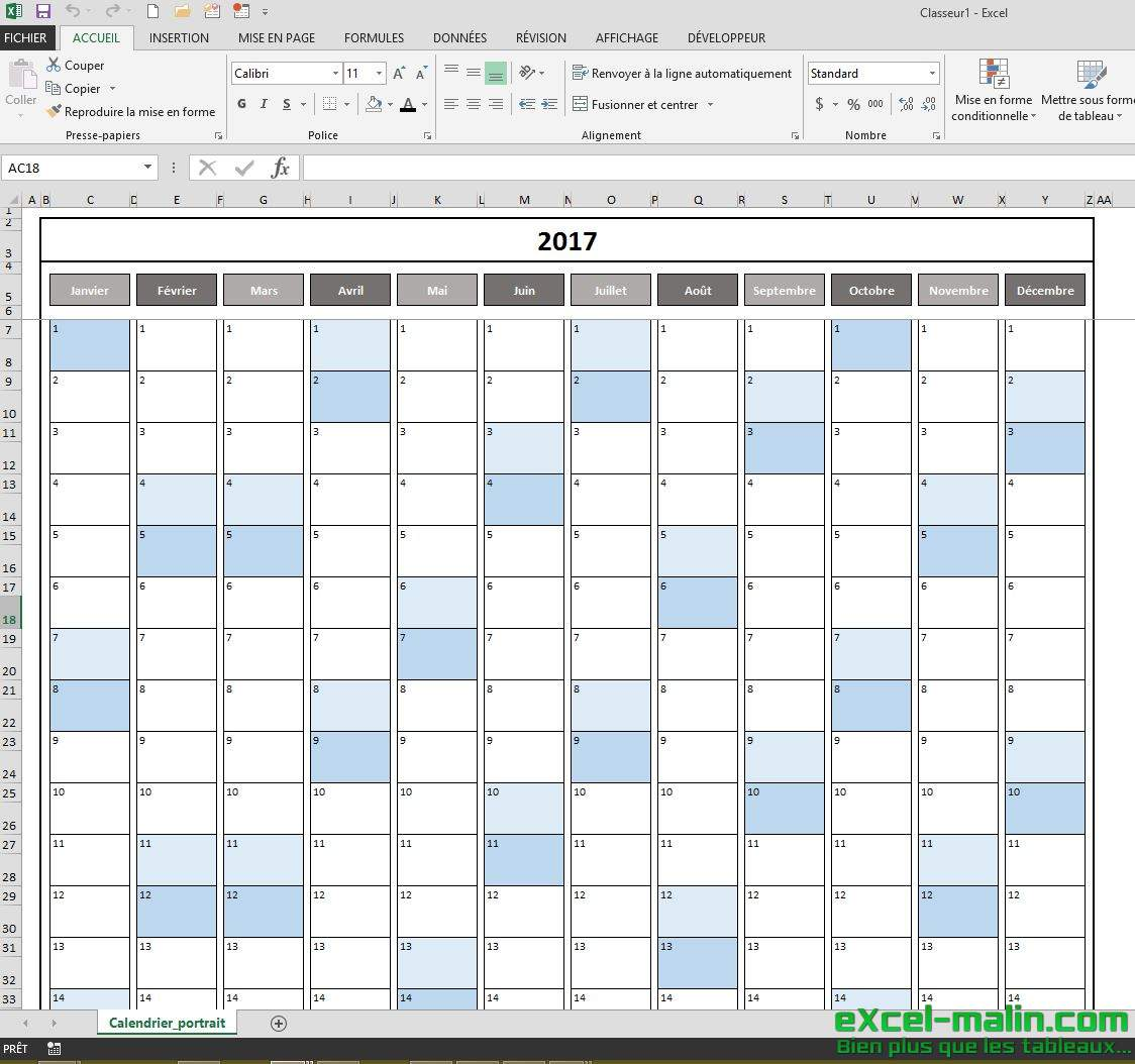 Calendrier 2017 telechargeable