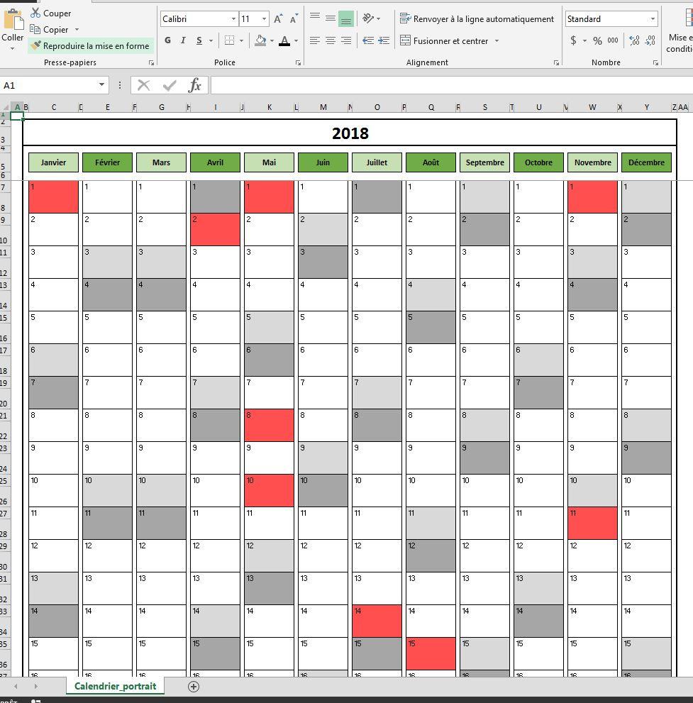 Planning calendrier excel gratuit