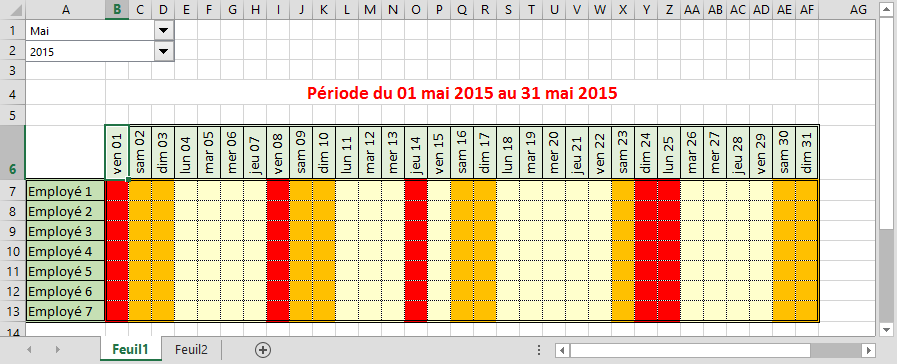 Calendrier excel 2017 planning