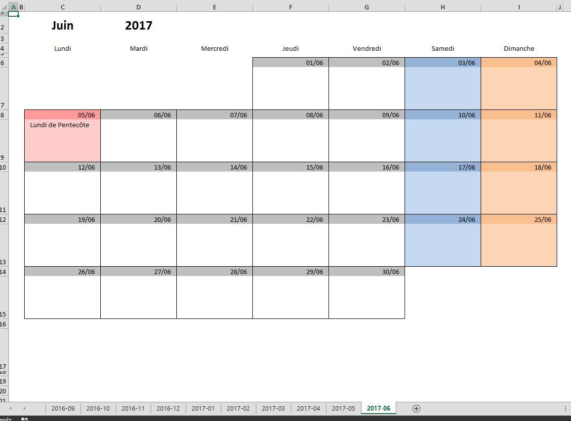 Calendrier 2017 à imprimer pdf et excel