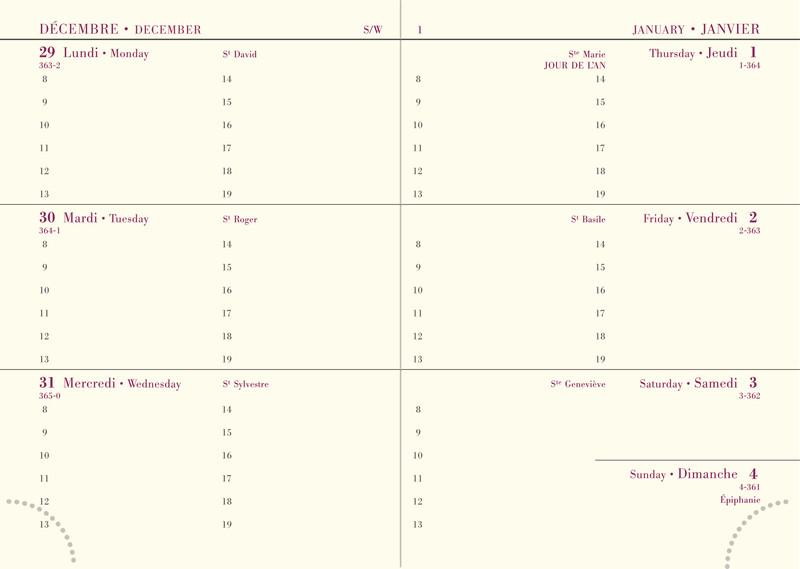 Agenda par semaine