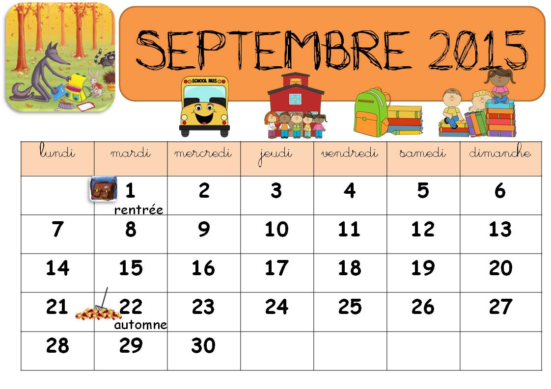 Calendrier modifiable 2016