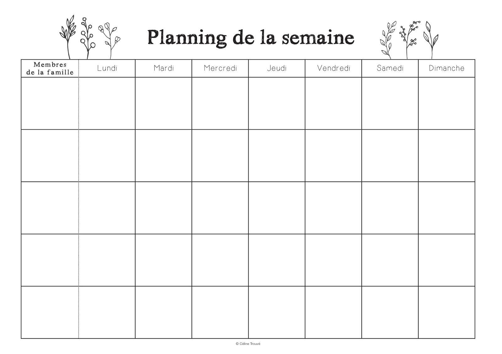 Planning de la semaine à imprimer