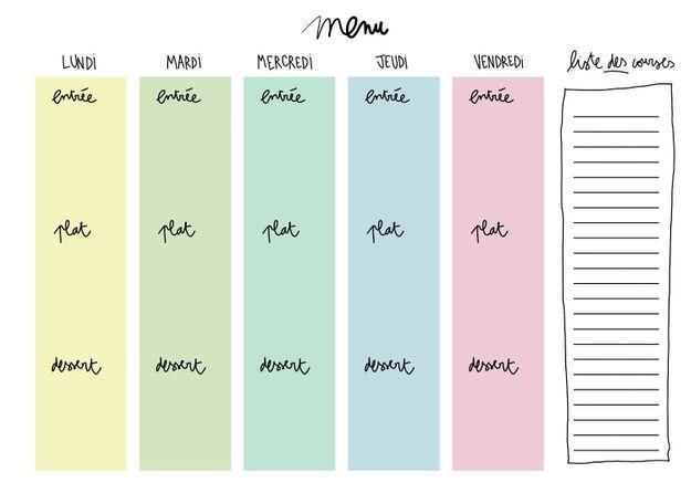 Planning menu vierge