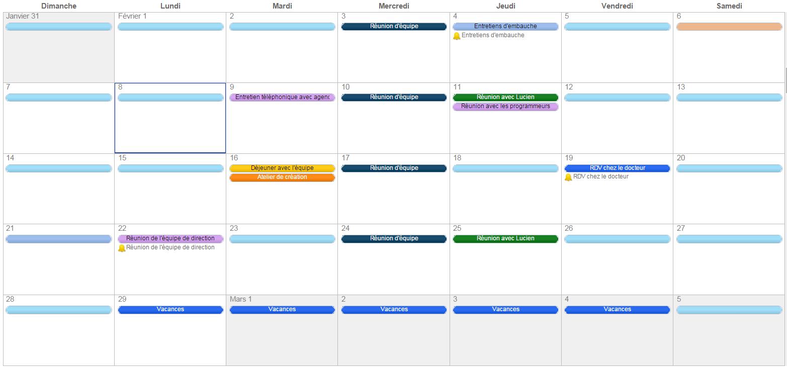 Modele de planning journalier