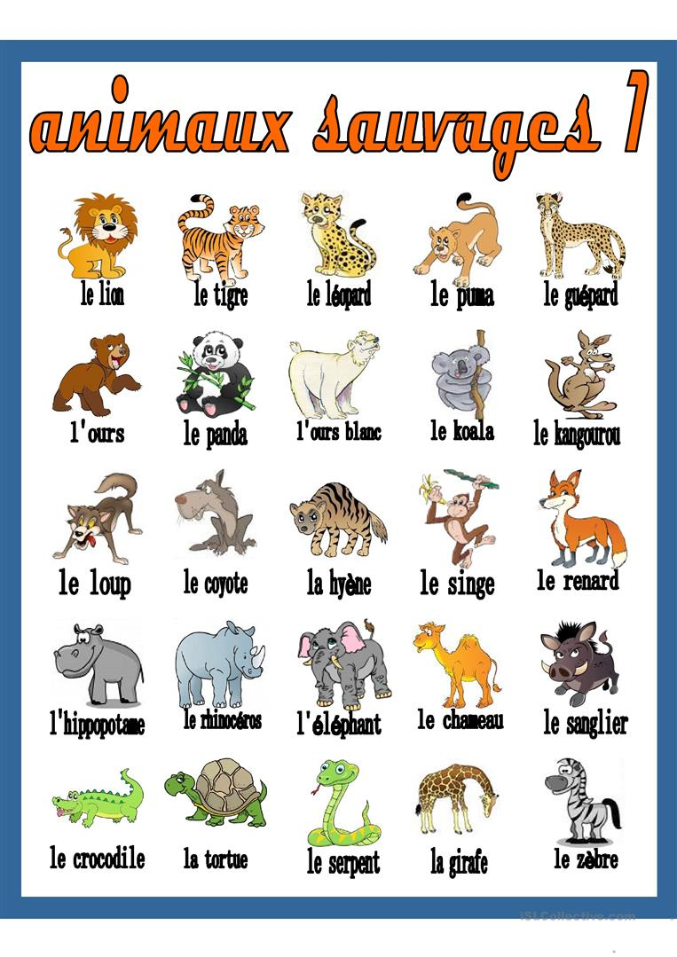 Liste animaux sauvages