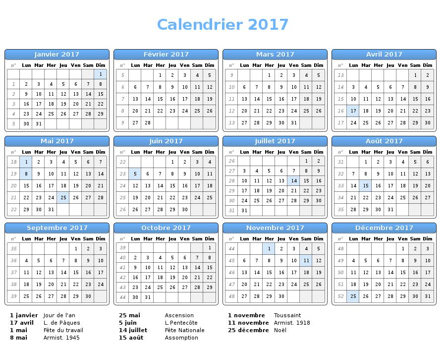 Imprimer calendrier 2017
