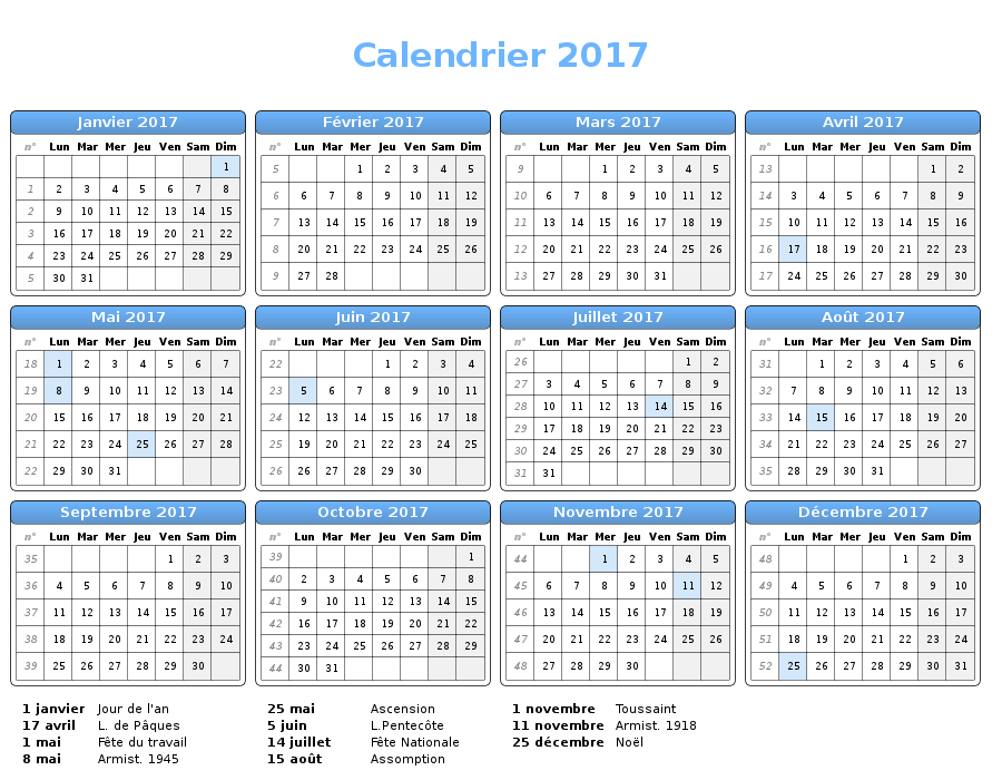 Télécharger un calendrier 2017