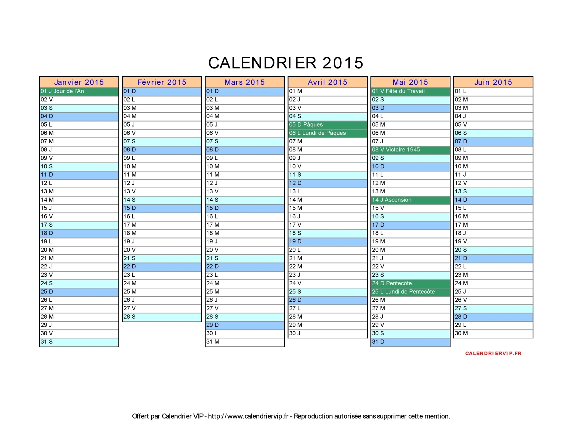 Calendrier vierge 2016 excel