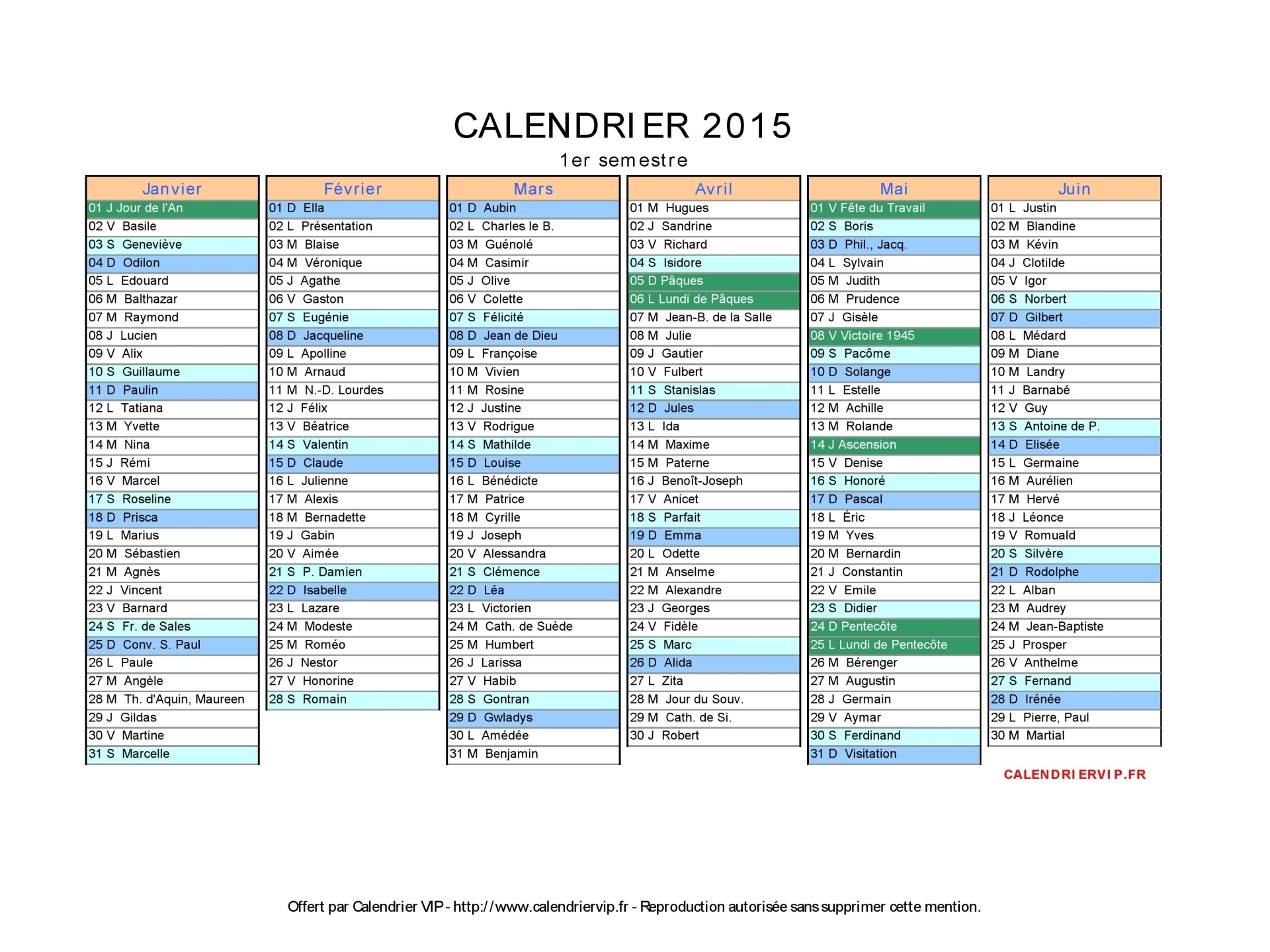 Calendrier excel 2015