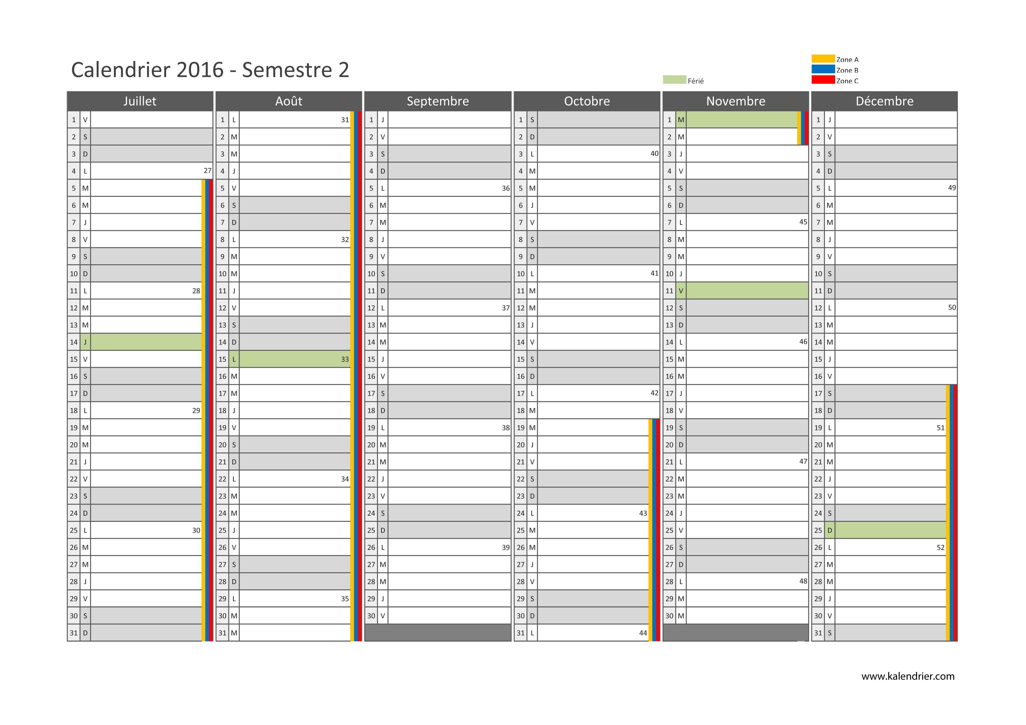 Planning 2016 2017 à imprimer