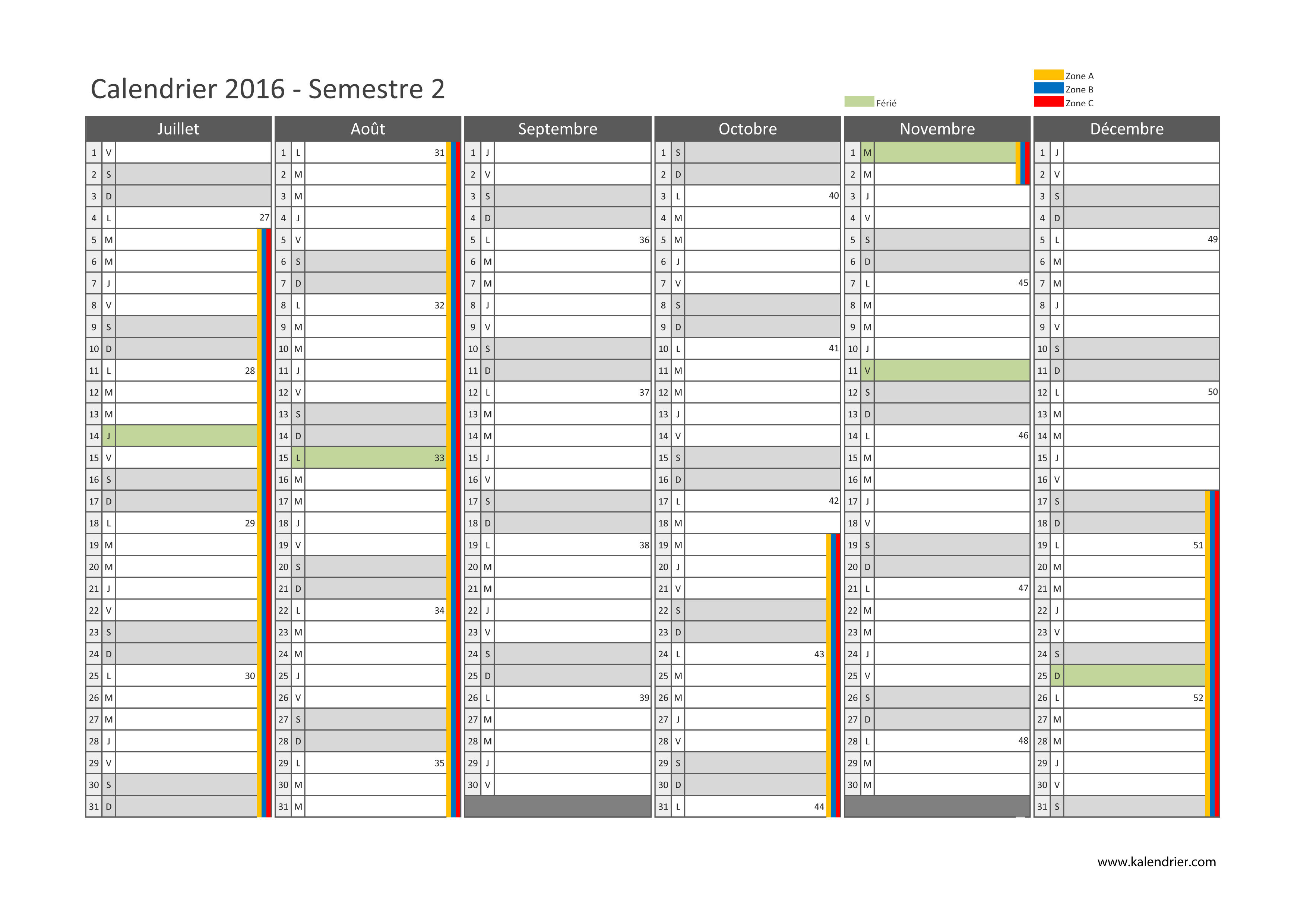 Calendrier imprimable 2016 2017