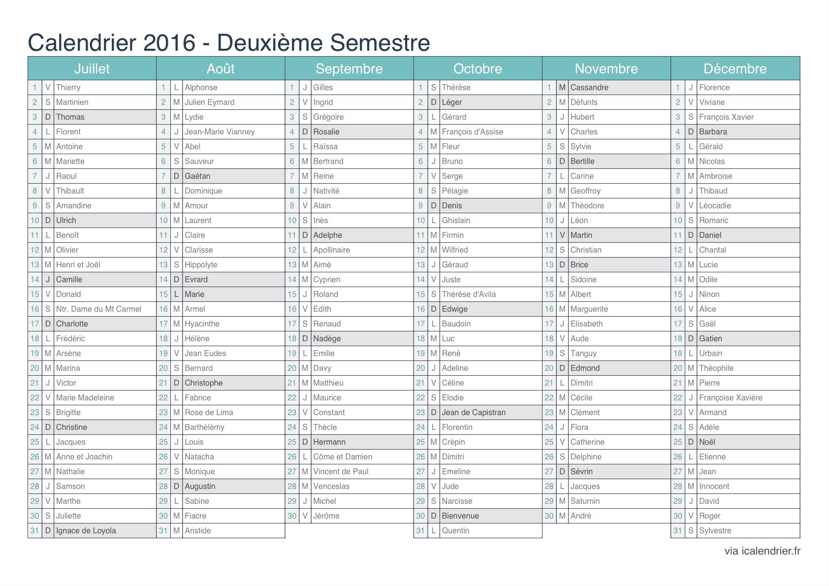 Calendrier 2016 à imprimer avec numéro de semaine