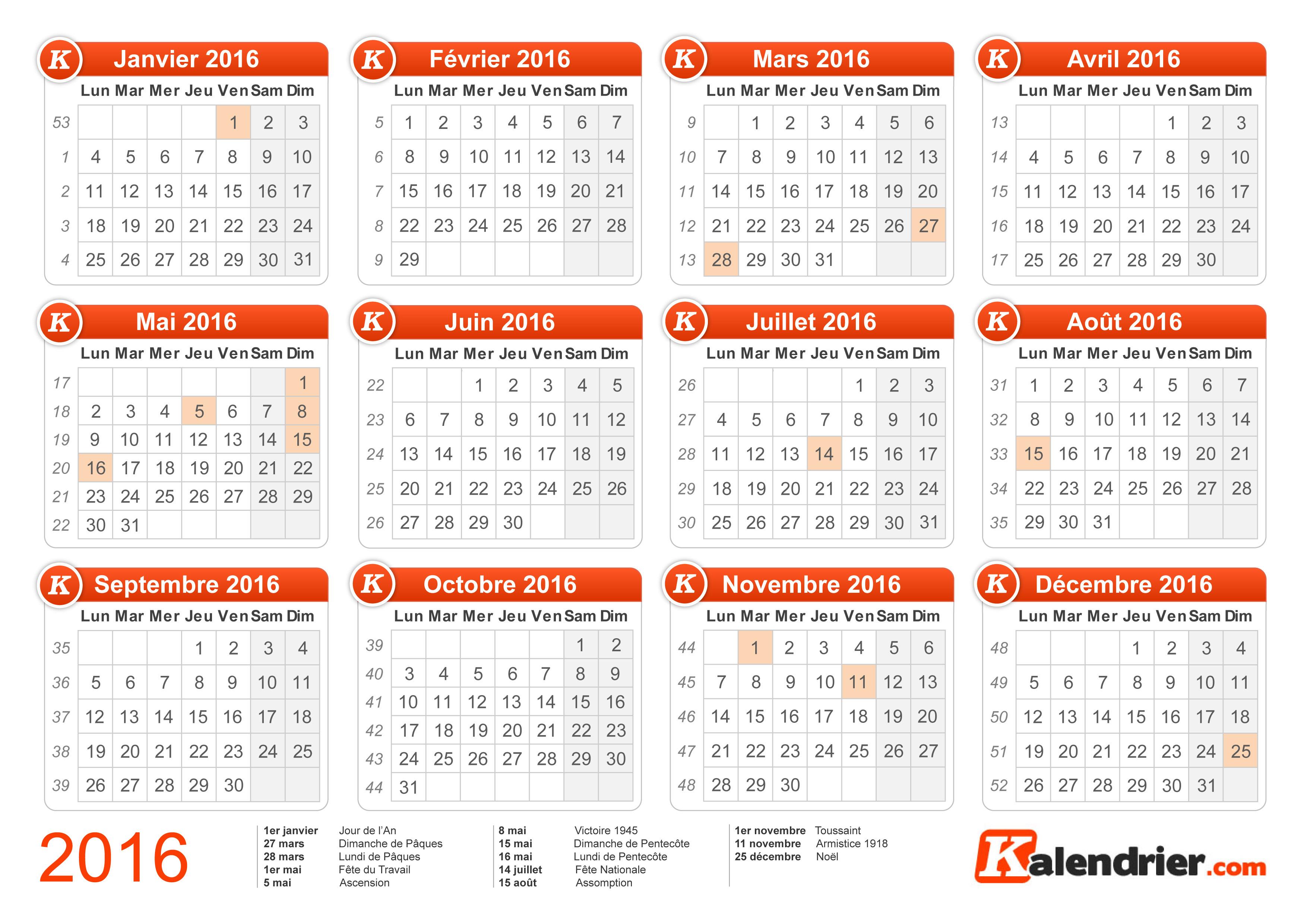 Calendrier semaine paire et impaire 2016