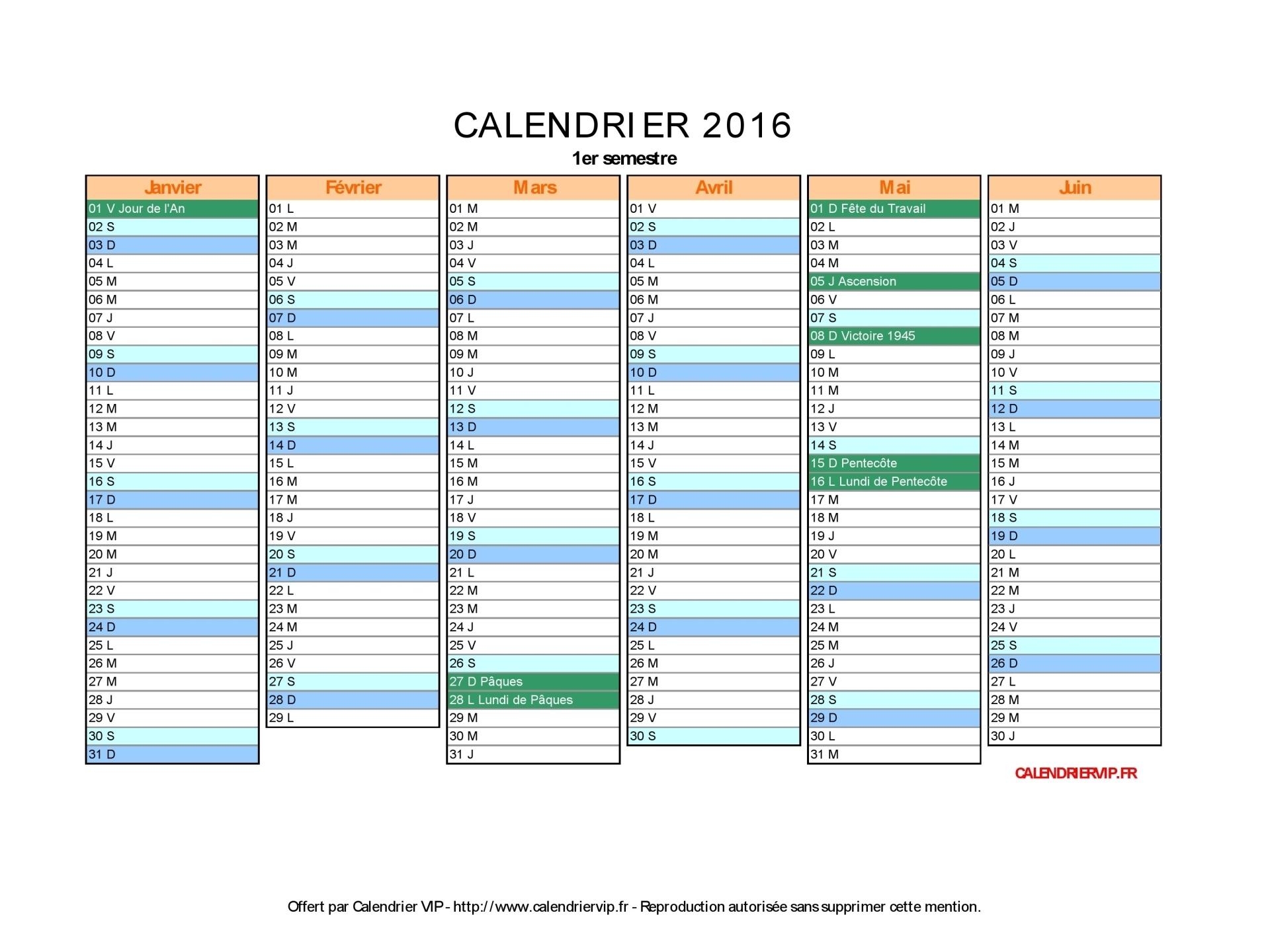 Calendrier 2016 à imprimer pdf