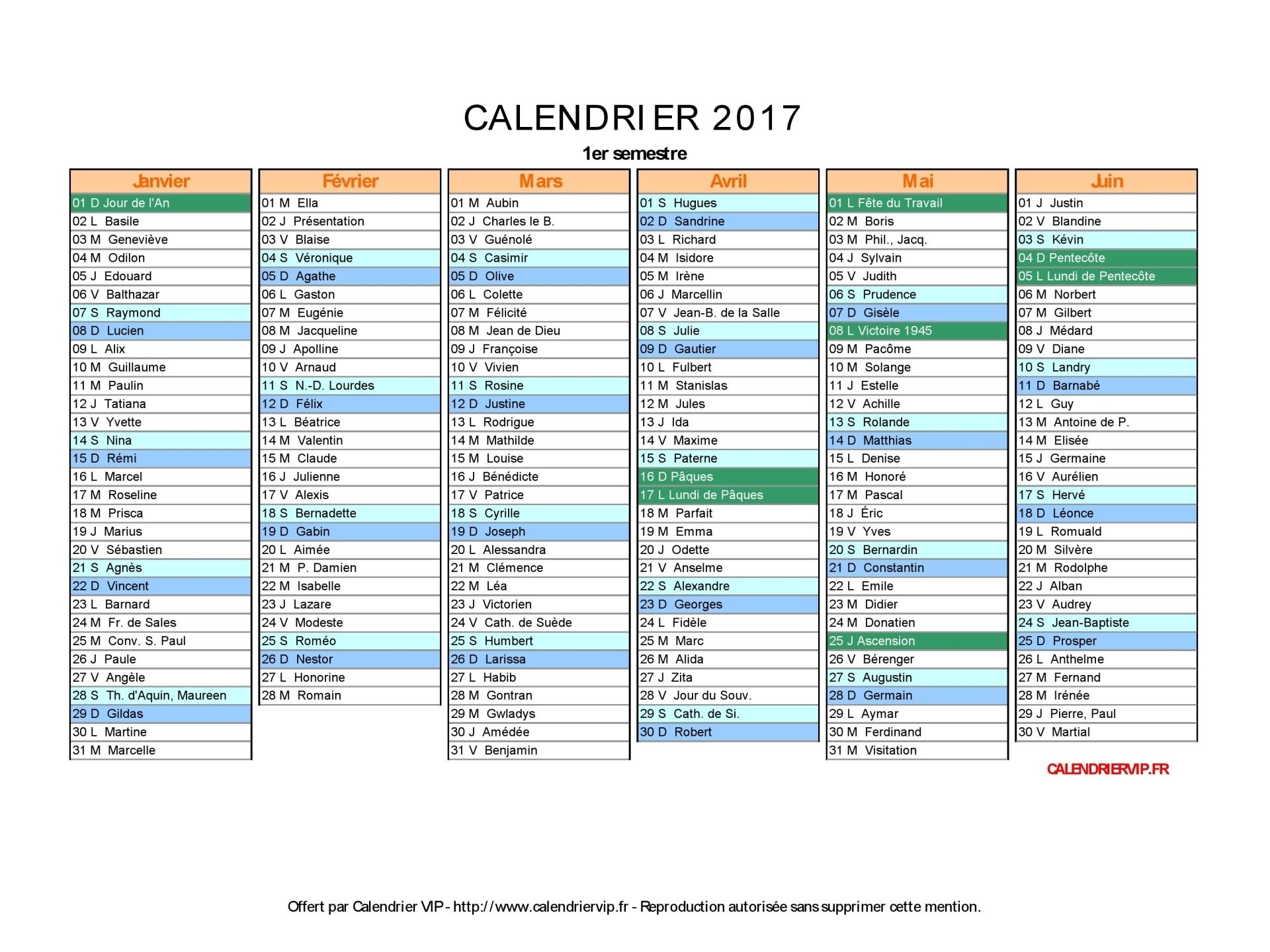 Calendrier 2017 paire impaire
