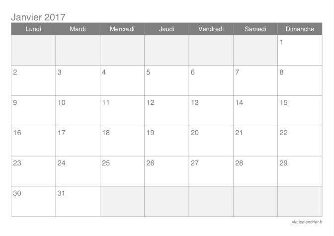 Agenda à imprimer 2017