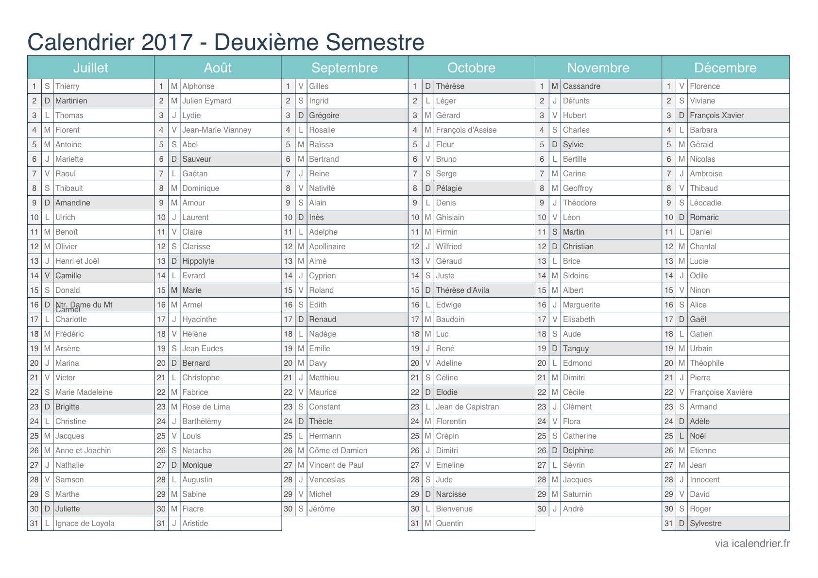 Calendrier annuel 2016 à imprimer avec vacances scolaires