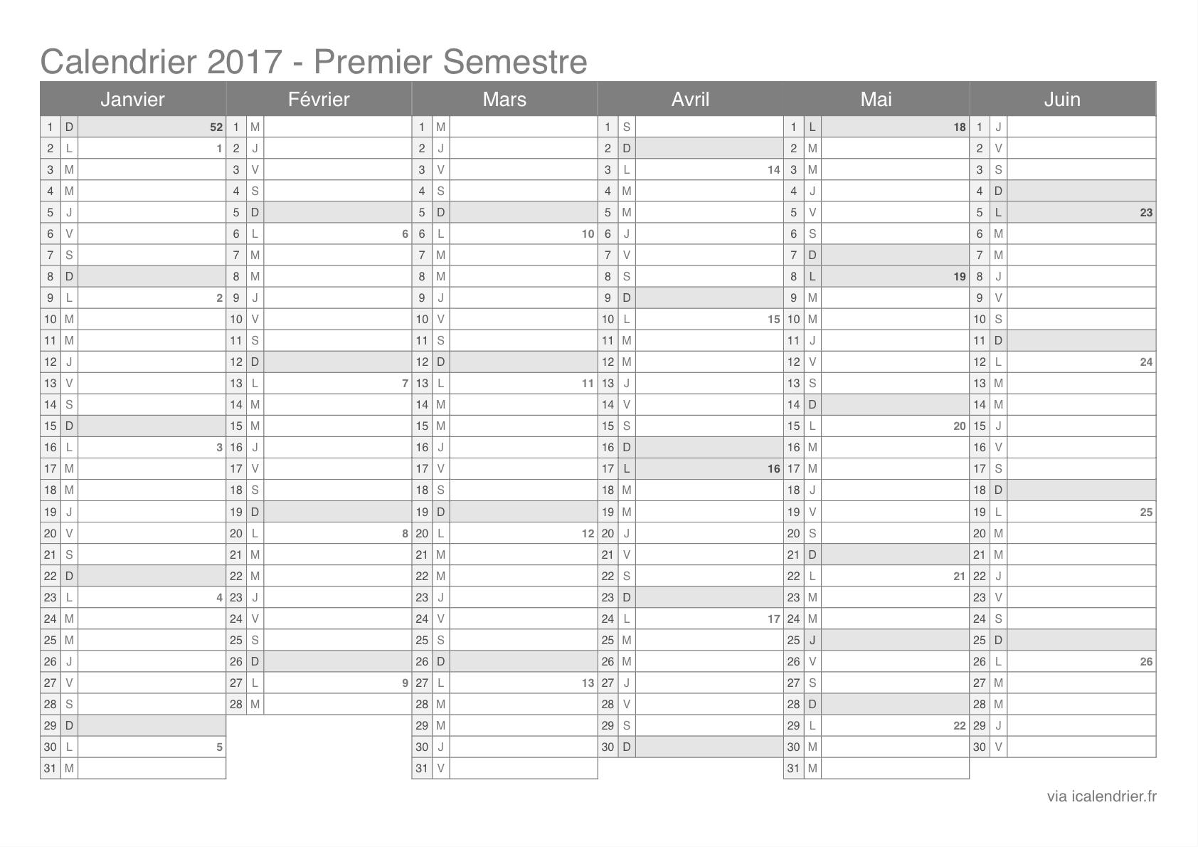 Calendrier 2017 avec les numéros de semaine