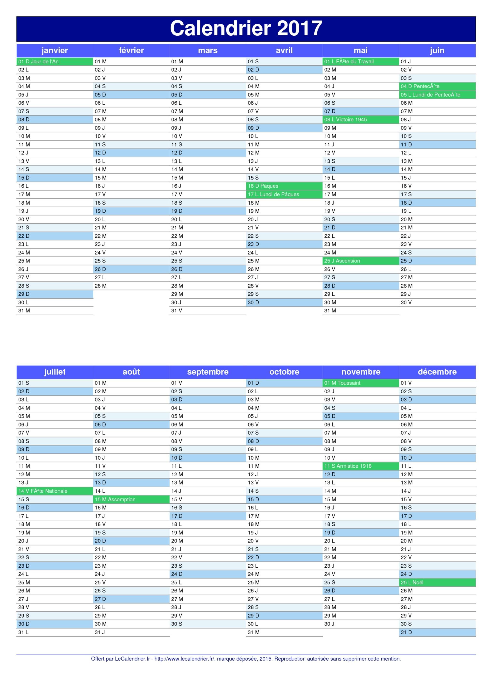 Pdf calendrier 2017