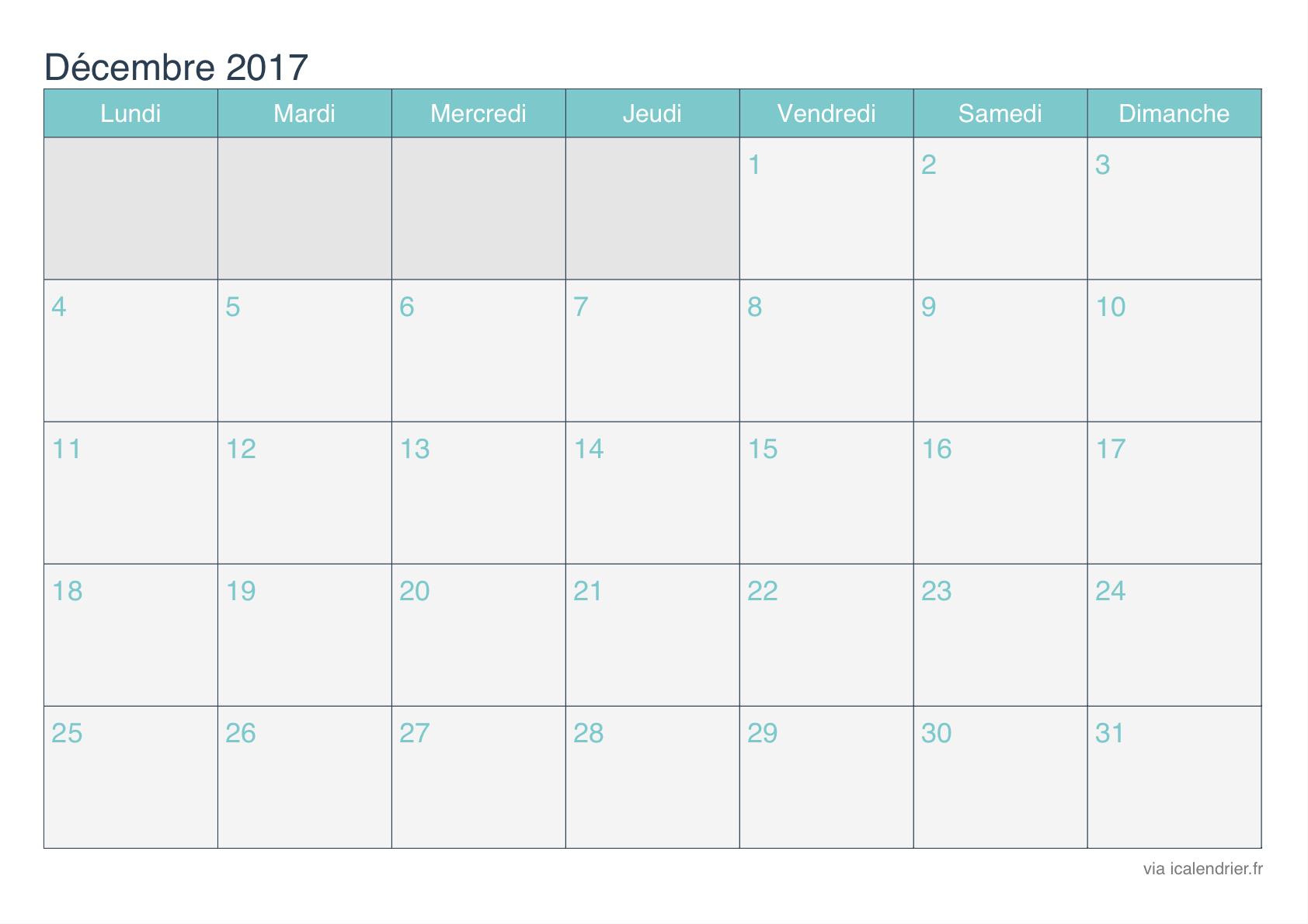 Planning mensuel excel 2017