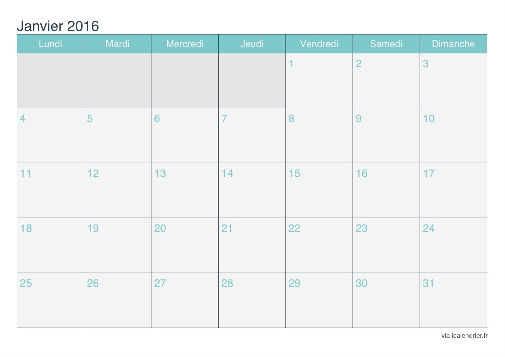 Agenda 2016 à imprimer gratuit