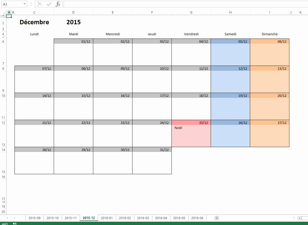 Calendrier mensuel 2017 excel gratuit