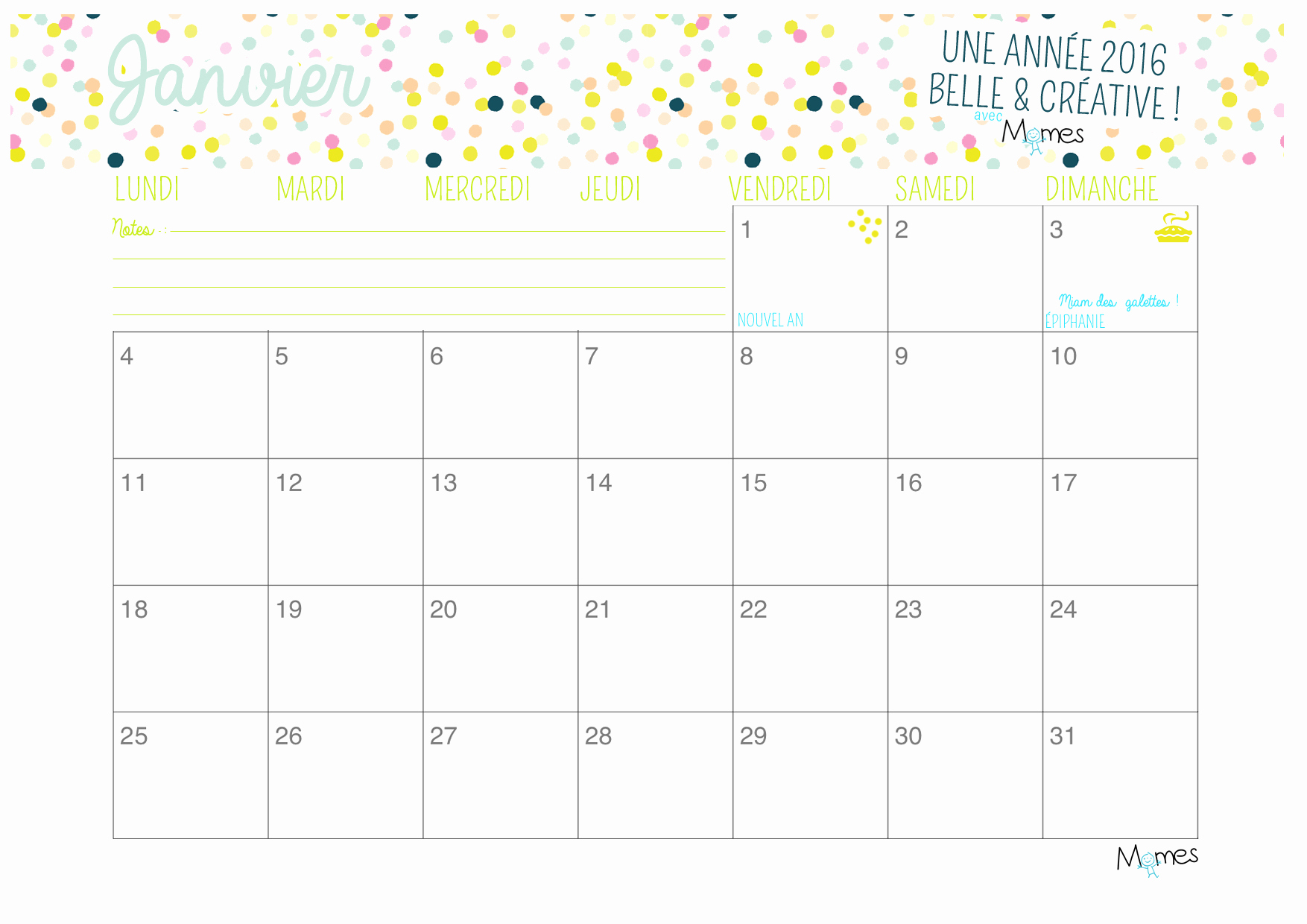 Planning à imprimer mensuel