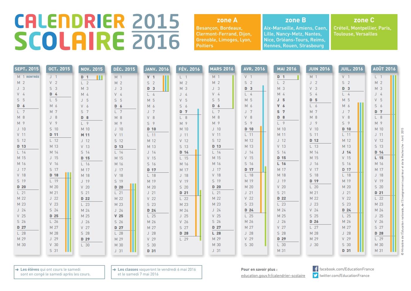 Calendrier 2015 et 2016 à imprimer gratuit