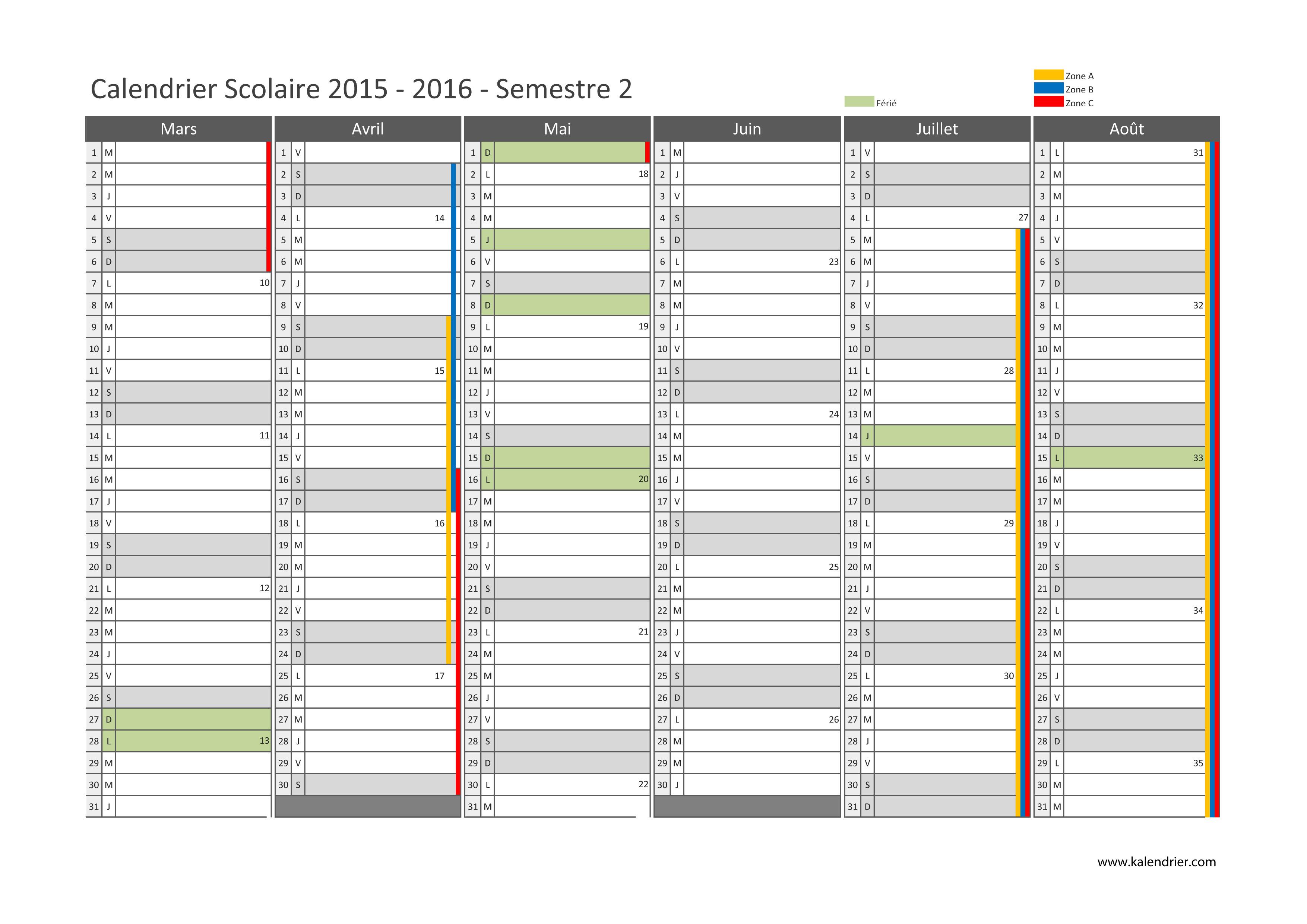 Calendrier scolaire 2016 xls