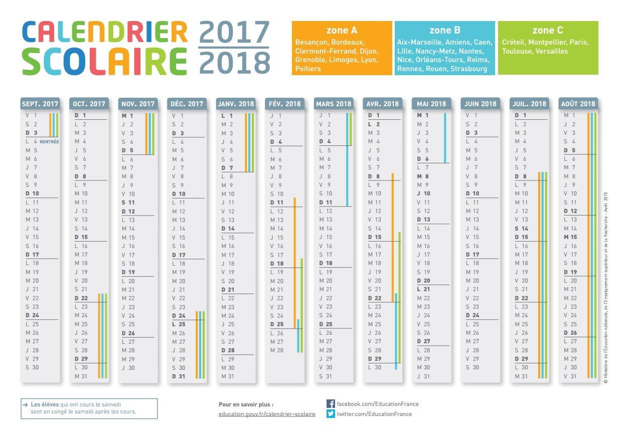 Calendrier 2017 avec numéro de jour