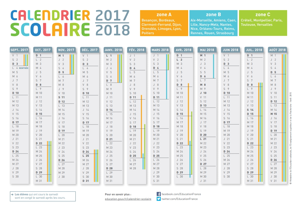 Calendrier scolaire 2016 2017 vierge