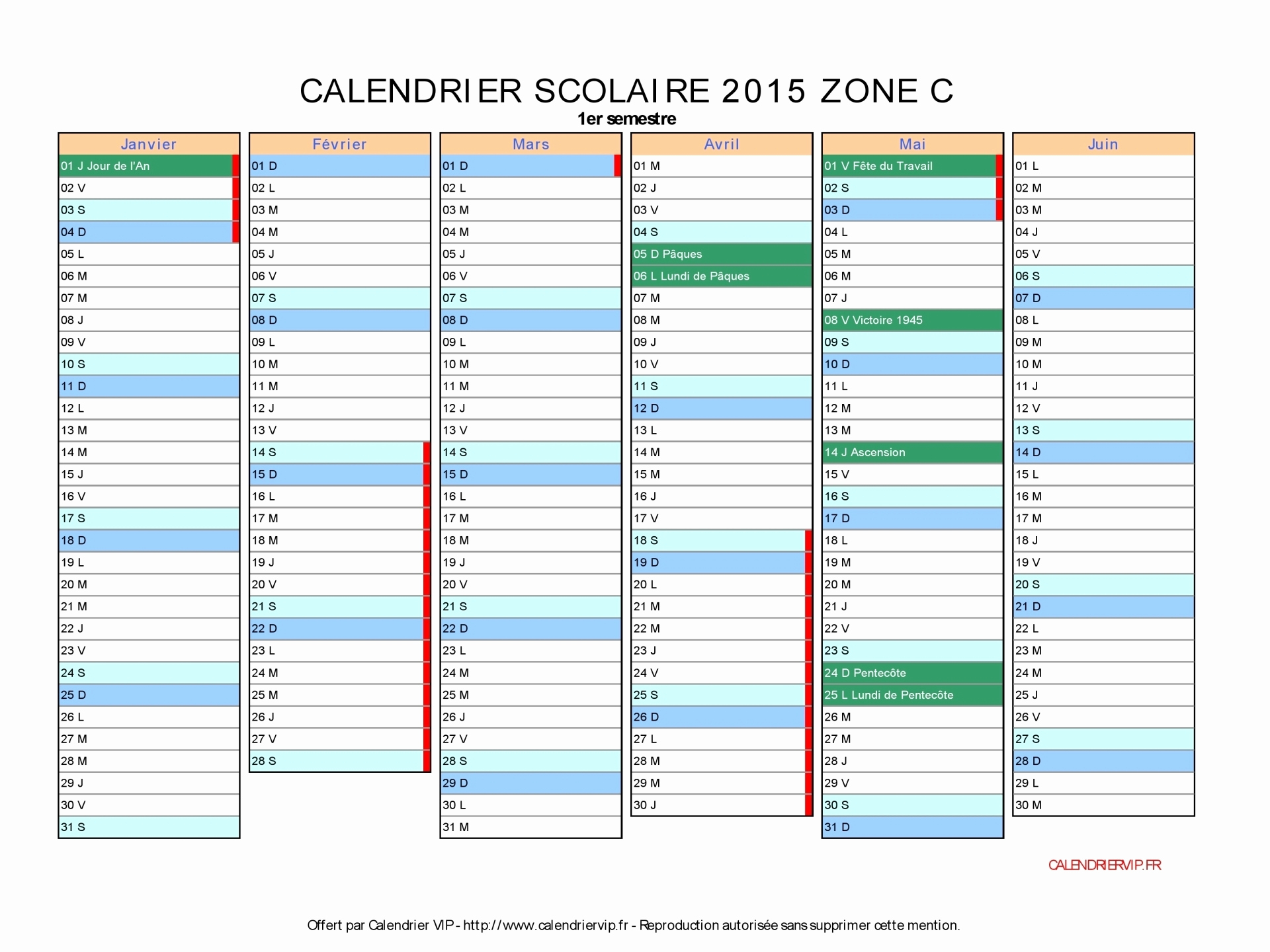 Calendrier scolaire 2016 2017 format excel