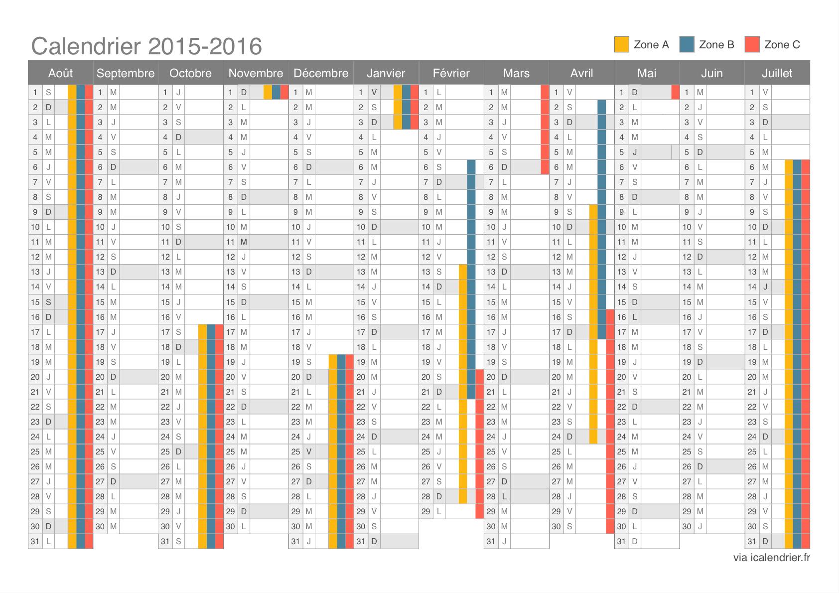 Calendrier 2016 pdf avec vacances scolaires