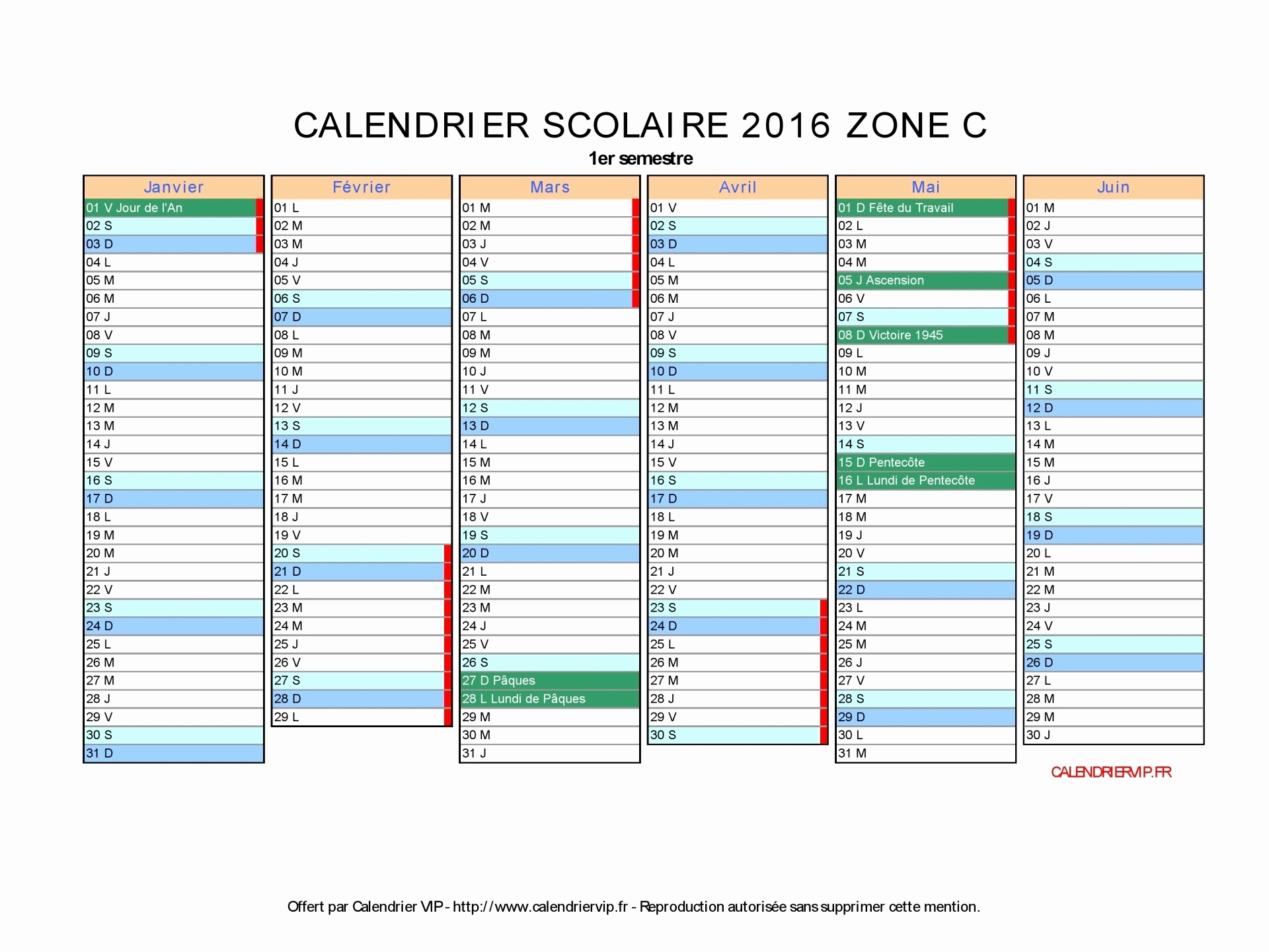 Calendrier 2016 à imprimer avec vacances scolaires