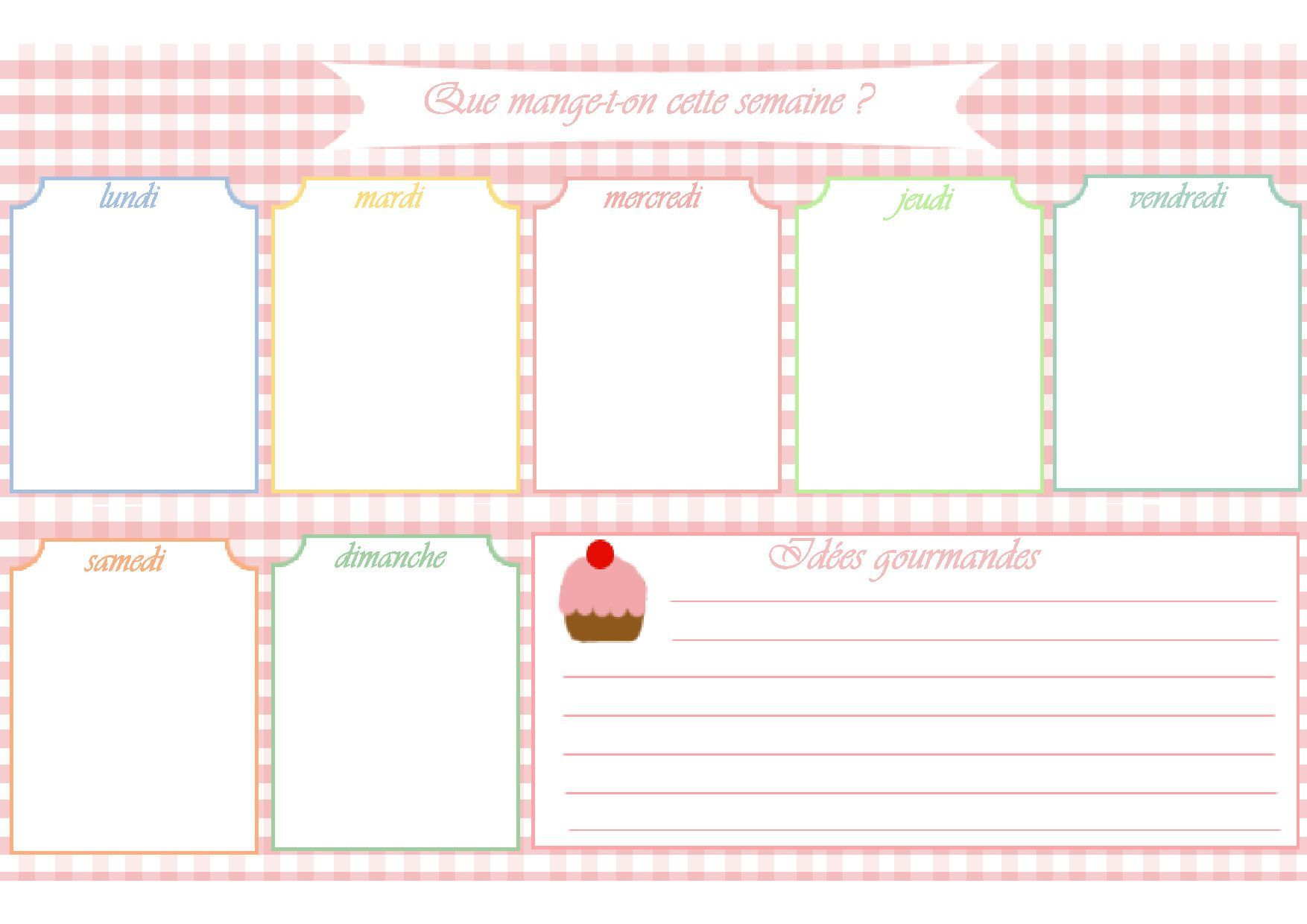 Planning menu semaine à imprimer