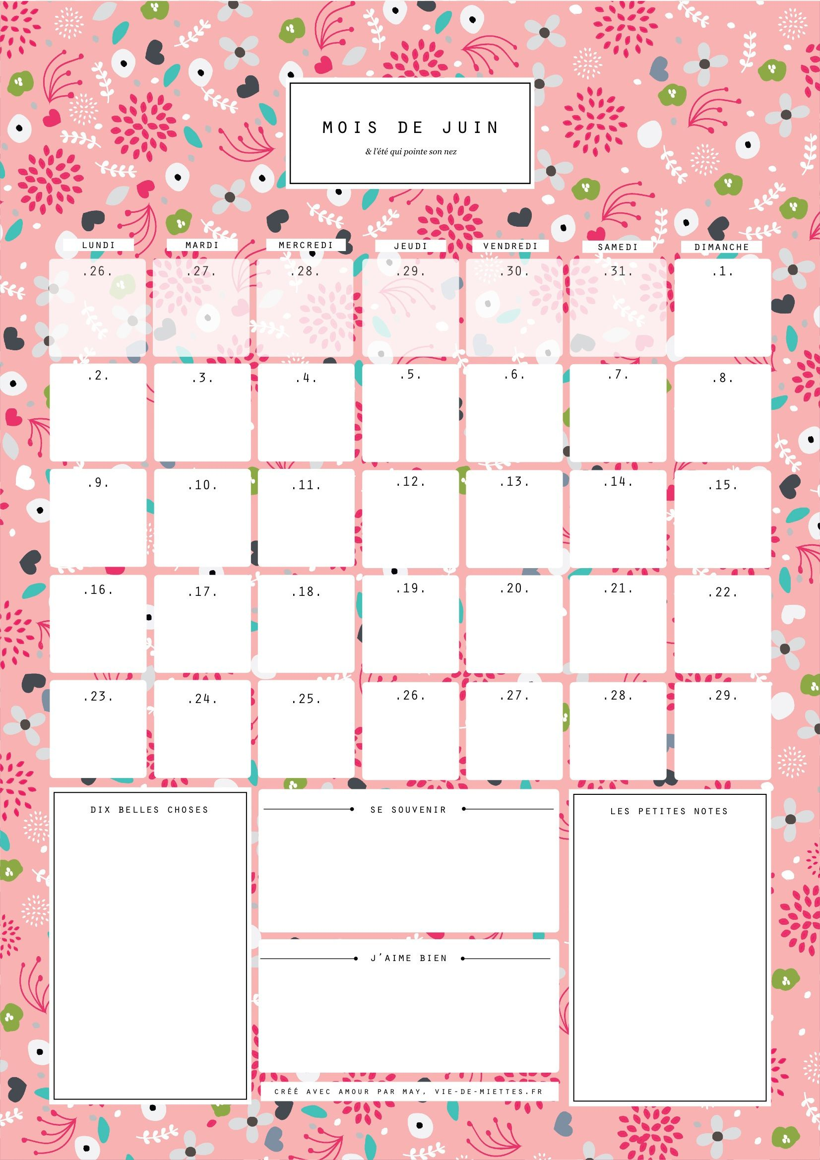 Calendrier mensuel 2016 à imprimer pdf