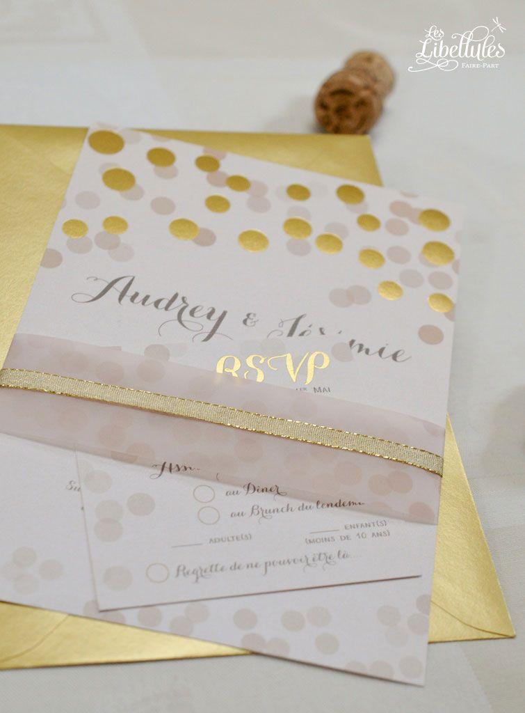 Faire part mariage rose et or