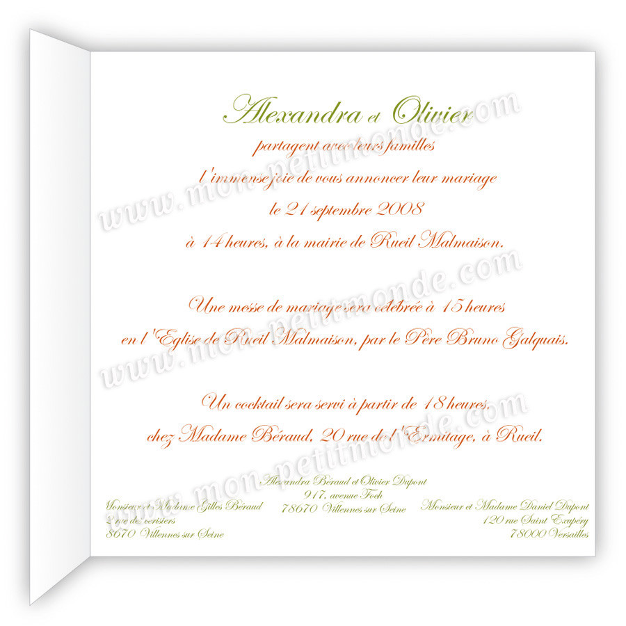 Invitation mariage exemple