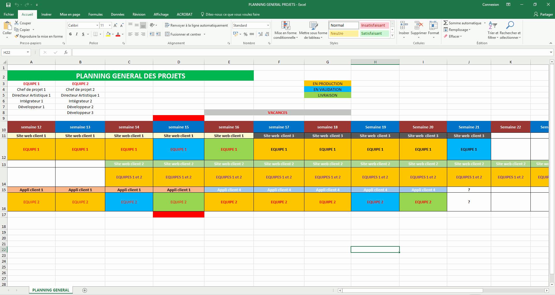 Exemple de planning de travail sur excel
