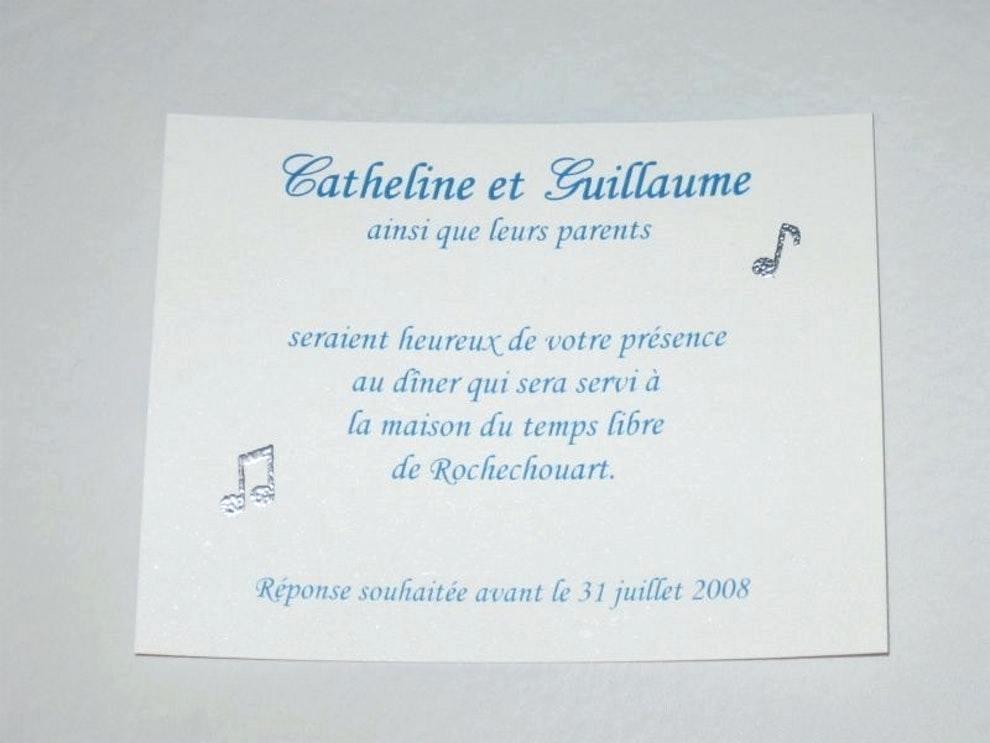 Exemple invitation repas mariage