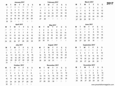 Template calendrier 2017