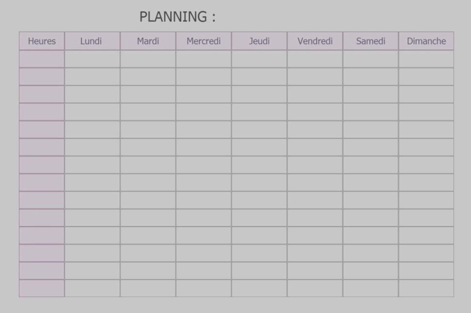 Planning à remplir en ligne