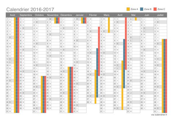 Calendrier 2016 2017 numero semaine