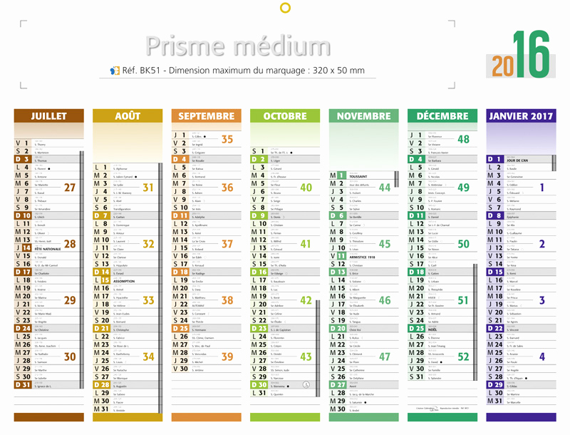 Calendriers 2016 semaines